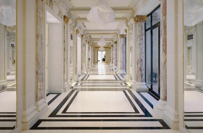 Hotel Peninsula, Paris, Nero Marquina, Bianco Carrara, Statuarietto