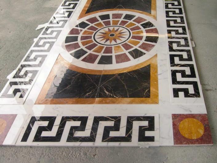 Pre posa pavimento in marmo con rosone, intarsio marmo