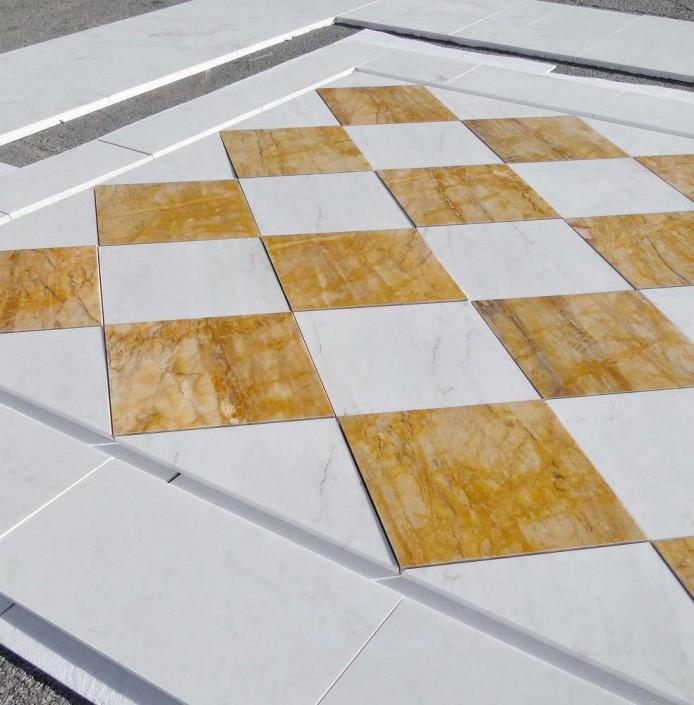 Pre-Installation Versace Cremo Delicato Giallo Siena Marble Floor