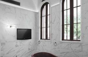 Marble Statuario, Travertine Walnut, Levanto Red, Green Alps, Port Laurent