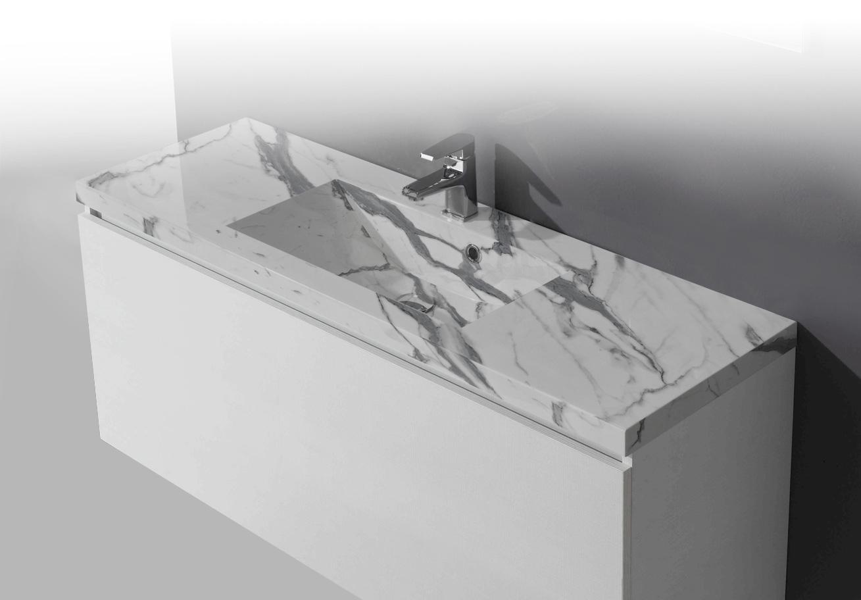 Piano bagno lavandino in marmo bianco arabescato